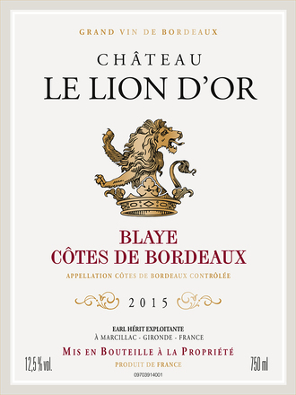 2015 Chateau le Lion d'Or, Blaye, Cotes de Bordeaux